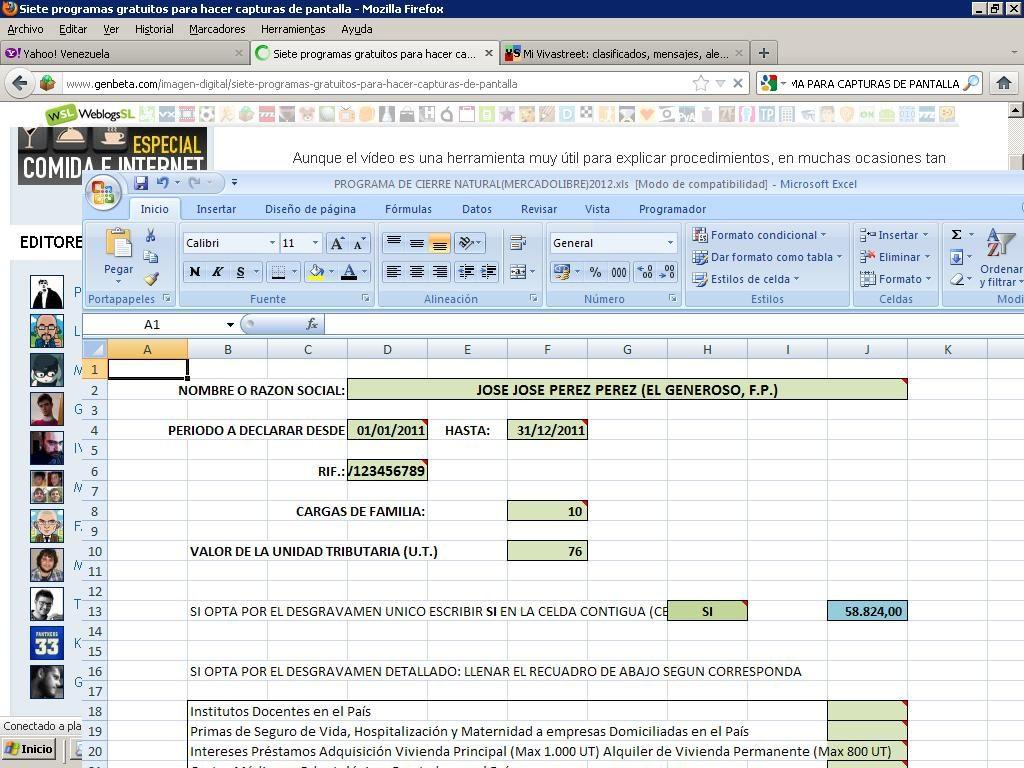 Programa Declaracion Islr Persona Natural Excel - Bs. 25,00 en ...
