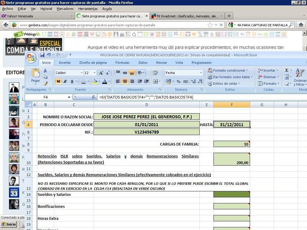 Programa Declaracion Islr Persona Natural Excel - Bs. 99.950,00 en ...