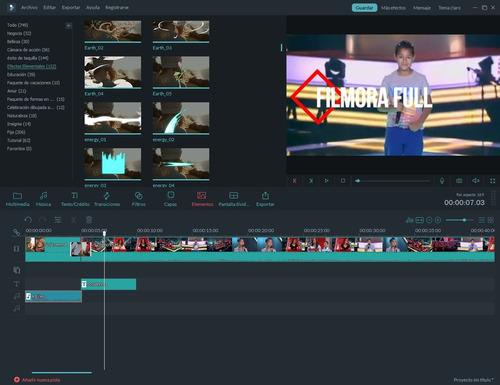 programa editor de videos filmora 32/64 bits +16 efectos