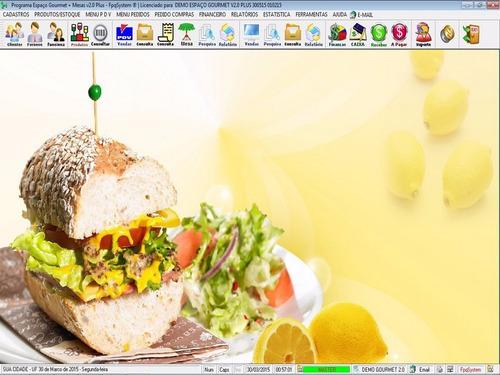 programa espaço gourmet, restaurantes, pdv + mesas v2.0 plus