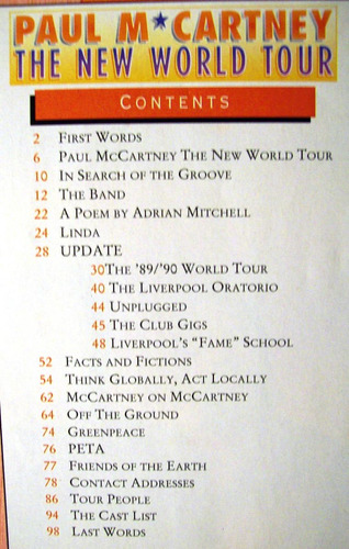 programa inglés de la gira the new world tour paul mccarney