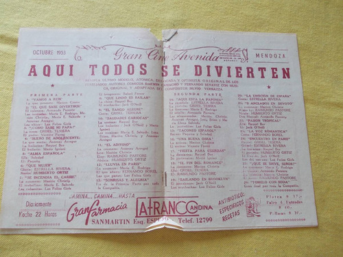 programa mendoza cine avenida folies 1953