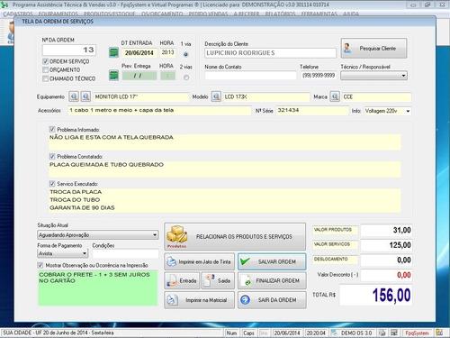 programa ordem de serviço e vendas e estoque v3.0