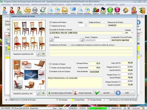 programa ordem de serviço geral + estoque + financeiro v4.6