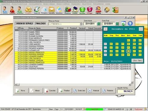 programa ordem de serviço marcenaria vendas e financeiro 4.9