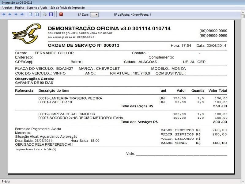 Programa Ordem De Serviço Para Oficina Mecânica Vendas V30