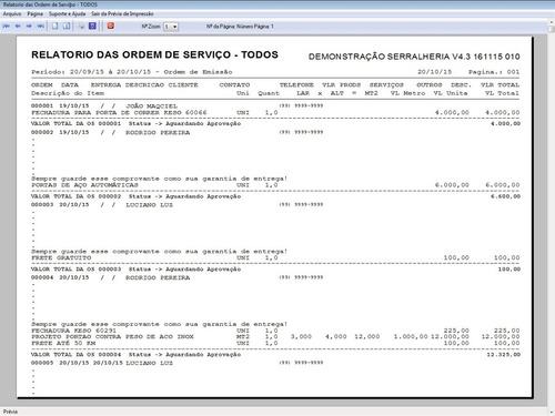 programa ordem de serviço serralheria, vendas financeiro 4.3