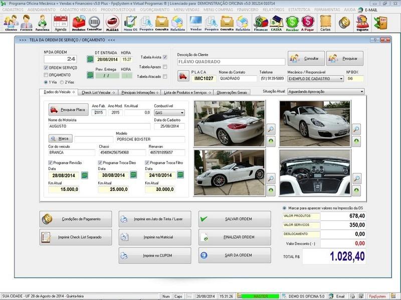 Programa os oficina mec nica com check list e foto v5 0 plus r 295 00 em mercado livre - Programas para oficina ...