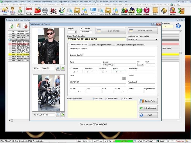 Programa os oficina para moto com check list foto v5 1 for Programas para oficina