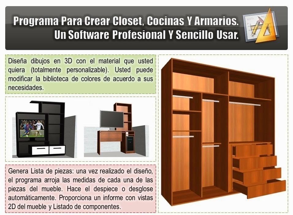 Programa Diseño Muebles : Programa para crear y desglosar muebles cocina closet