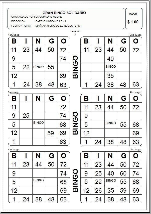 Programa Para Imprimir Tablas De Bingo - U$S 25,00 en Mercado Libre