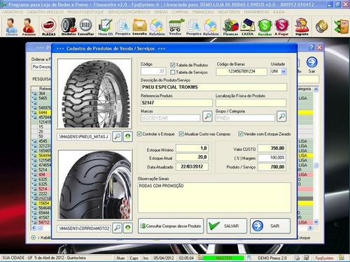 programa para loja de rodas e pneus vendas e financeiro v2.0