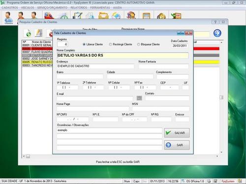 programa para oficina mecânica e orçamentos com placas v1.0