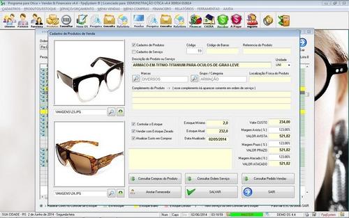 programa para ótica e relojoalheria vendas + financeiro v4.4