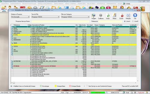 programa para ótica e relojoalheria vendas + financeiro v5.4