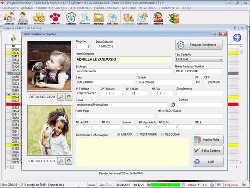 programa petshop + atendimento, produtos e serviços v1.0