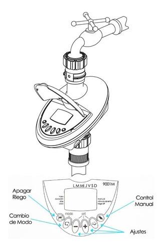 programador de riego de canilla automatico a bateria 9v