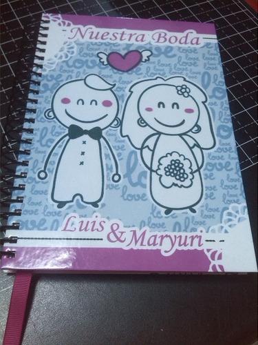 programadores de bodas y libretas de notas personalizada