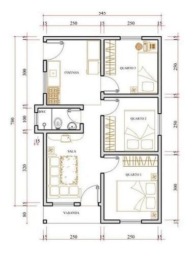 projeto arquitetônico de até 100m²