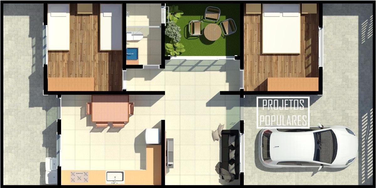 Projeto Arquitetônico De Casa 75x15m 2 Quartos E 1 Banheiro