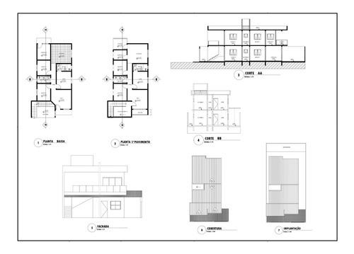 projeto arquitetônico sobrado - duas casas 84m² e 98m²