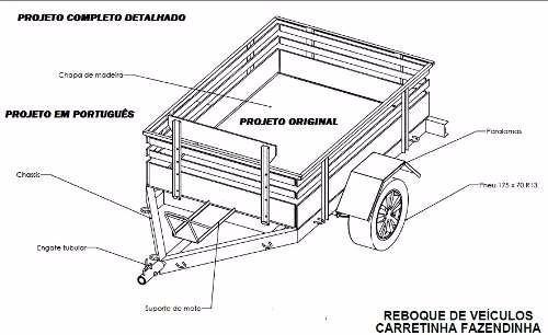 projeto carretinha carga, reboque, fazendinha- frete grátis