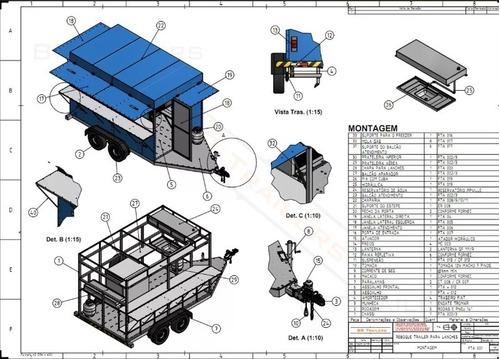projeto carretinha reboque (ood truck trailer para lanche