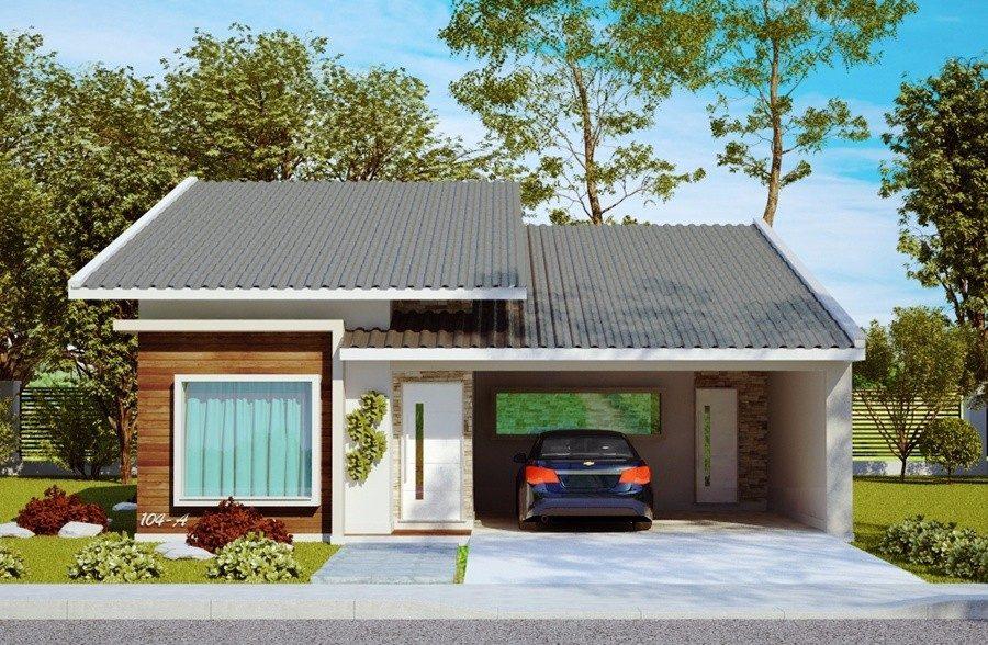 Projeto casa ate 90 m2 2 ou 3 dormit rios r 500 00 for Casa moderna 140 m2