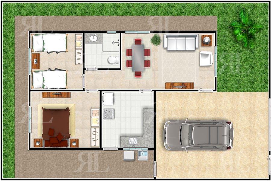 Projeto casa popular 2q planta completa r 476 00 em for Eumaster casa moderna 8x8