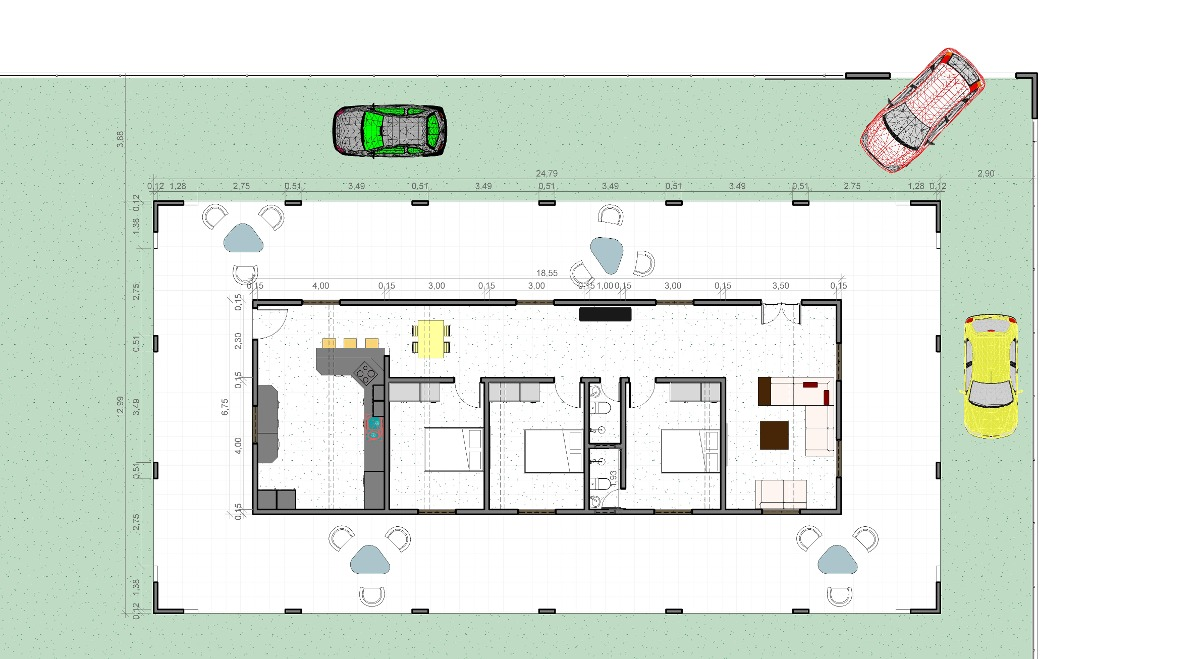 Projeto Casa Sitio Varanda 3d 12 99 X24 79m Planta Casa