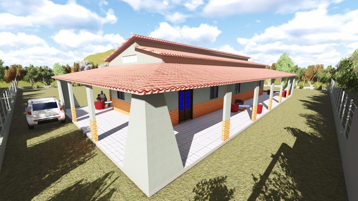 Projeto Casa Sobrado Sitio Varanda 3d Planta Baixa Coberta R