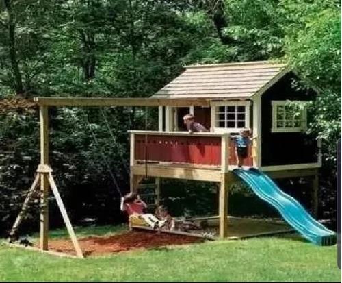 projeto casinha de madeira com playground.