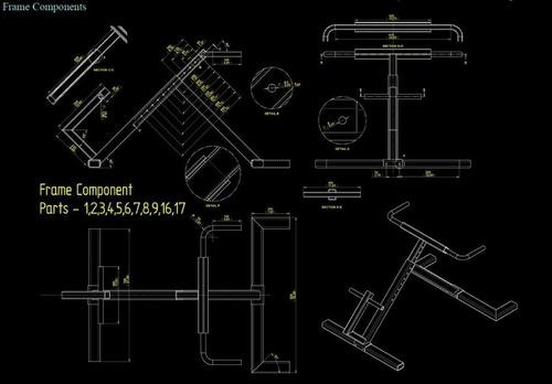 projeto de aparelho de academia incline lever row