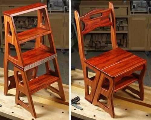 projeto de madeira cadeira vira escada+mesa vira banco