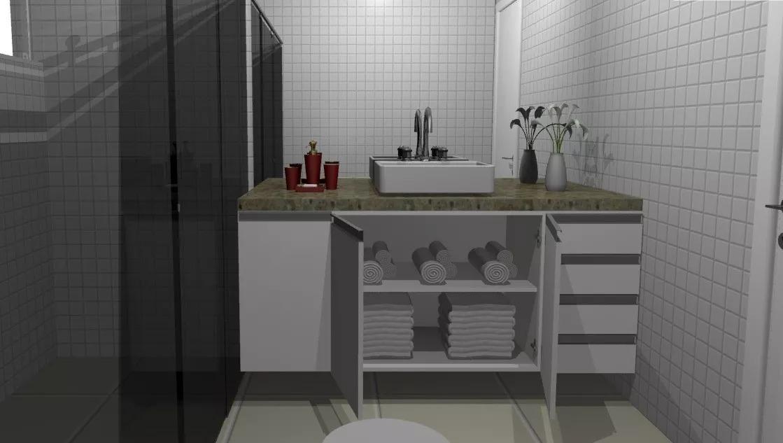 Projeto Móveis Planejados Banheiros Detalhamento 3d