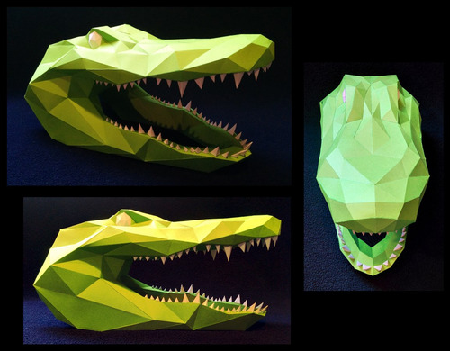 projeto papercraft escultura de parede cabeça alligator