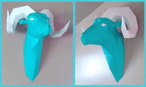 projeto papercraft escultura de parede cabeça carneiro