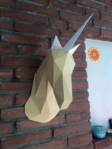 projeto papercraft escultura de parede cabeça unicórnio