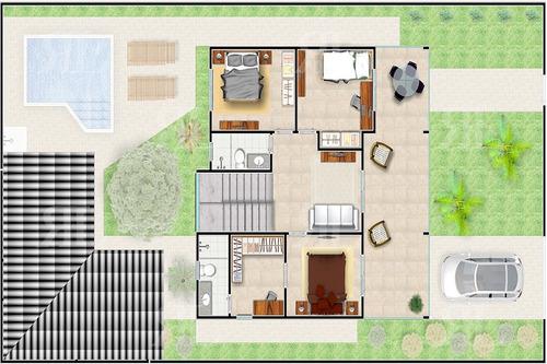 projeto sobrado ampla varanda 4q - planta completa
