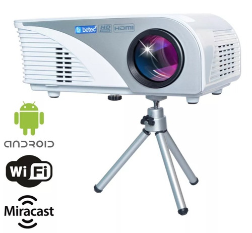 projetor betec com android 1600 lumens + brinde