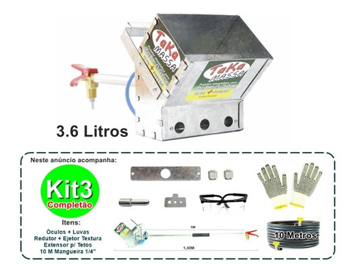 projetor de argamassa 3,6 l teto parede kit3 10m mangueira