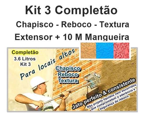 projetor  de argamassa chapisco textura kit3 10 m mangueira