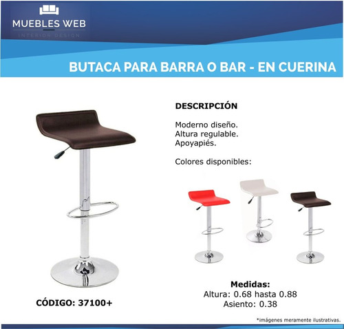promo 2 butacas cuerina - taburete - silla para bar