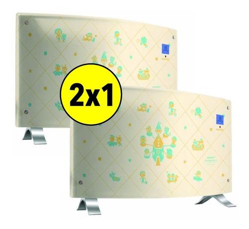 promo 2x1 vitroconvector estufa peabody curvo digital 2000w
