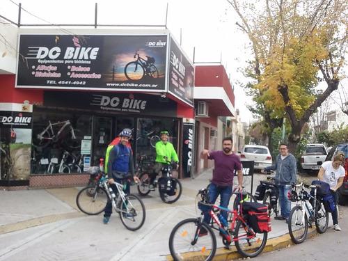 promo alforja p/ bici +triangulo +morral delantero dc bike