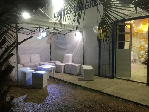 promo alquiler estufa living copon gazebo puff mesas sillas