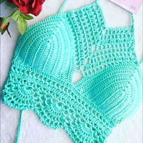 Promo Bikini Parte De Arriba Top Crop Tejido Crochet