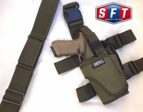 promo cinturón + muslera pistolera swat deluxe nivel2 s f t®