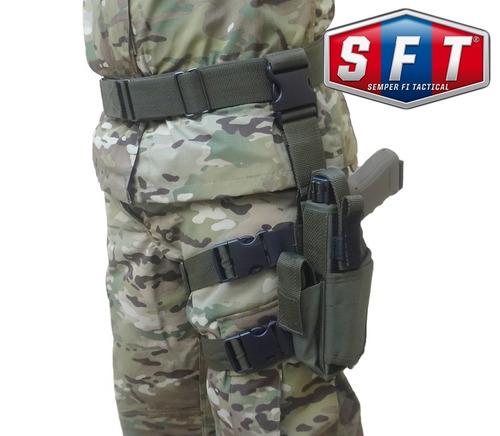 promo cinturón + muslera pistolera swat deluxe zurda s f t®