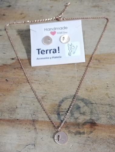 promo collar y topos en acero rosa diseño míni pajaro rama